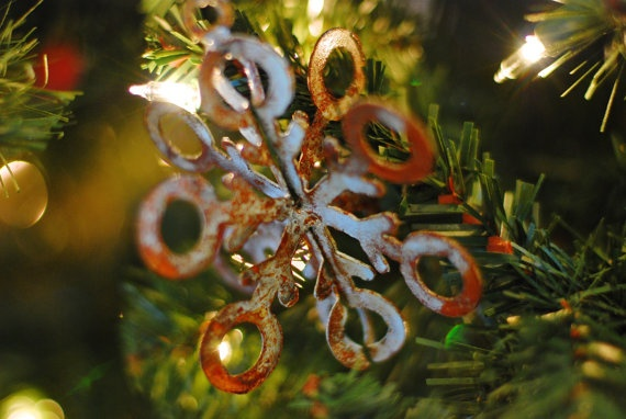 http://www.etsy.com/listing/86429285/snowflake-christmas-ornament-recycled  @dropmetal  $15  #recycled #handmade #art #winter #Christmas