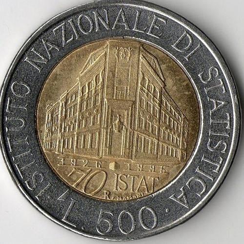 Italian Lira | 1996 500 Italian Lira Coin, Instituto Nazionale di Statistica
