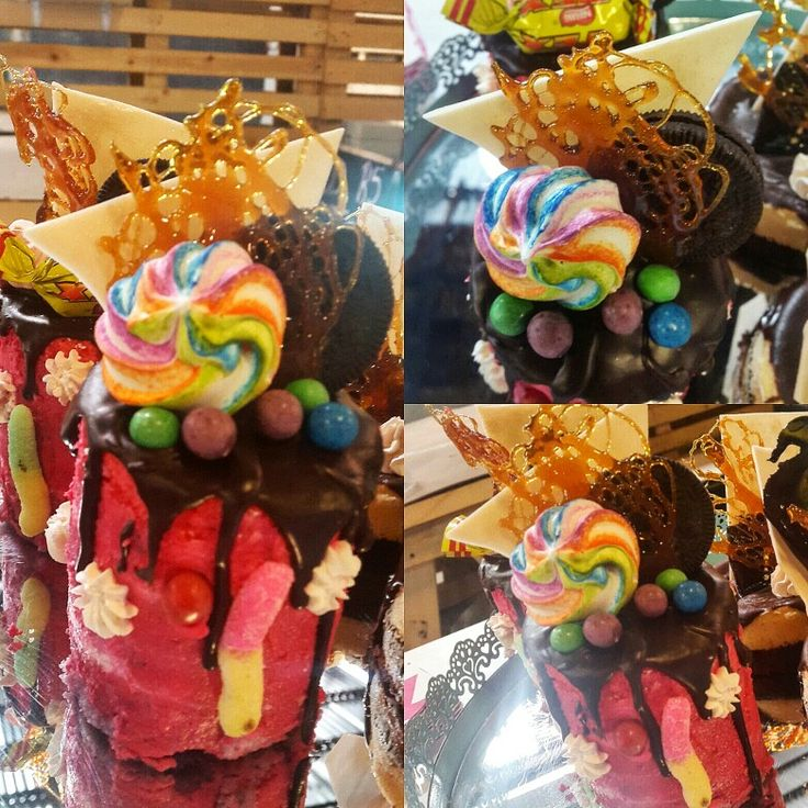 Candy land Rainbow cake, lemon custurd, berry mousse, Nutella ganache drip, Candy