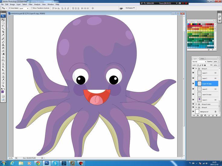 Illustrating drawing painting - cartoon octopus Jak namalować ośmiornicę