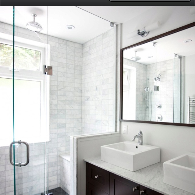 Love the frosted shower window and glass sides