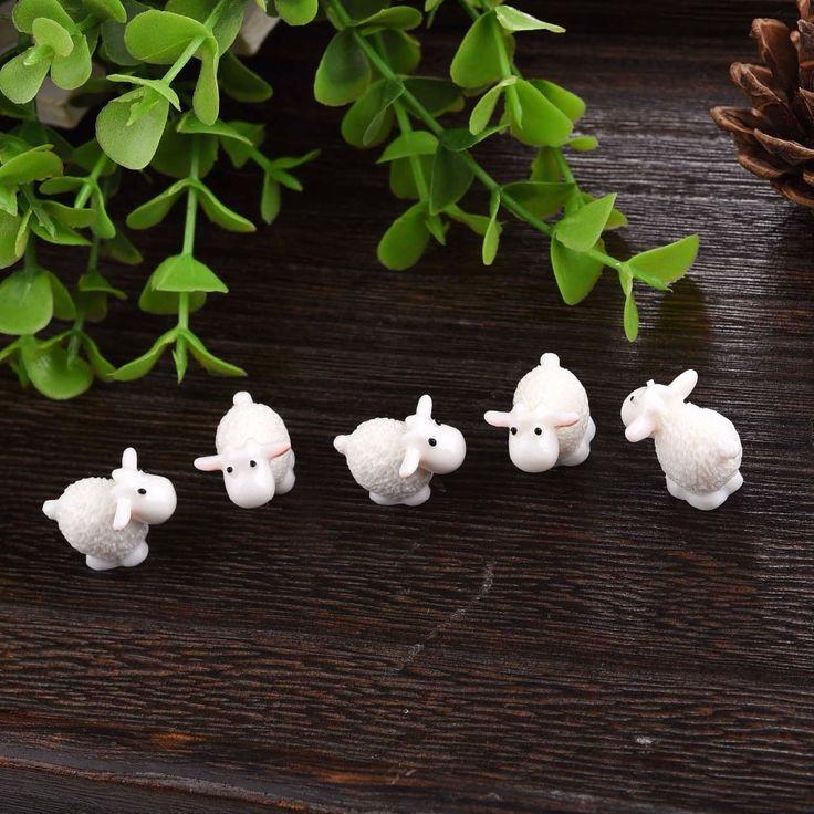 5Pcs / Set Kawaii Mini Sheep Dolphins Animals Home Micro Fairy Garden Figurines Miniatures Home Garden Decor DIY Accessories