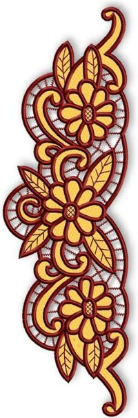 Advanced Embroidery Designs - Cutwork Lace Daisy Border.