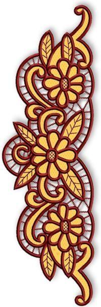 Advanced Embroidery Designs - Cutwork Lace Daisy Border.