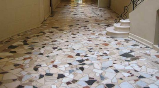 TERRAZZO FLOOR RESTORATION FORT LAUDERDALE  Before you start cleaning terrazzo floors at home, there are some important things you should be careful all throughout the terrazzo floor restoration job. Basically, many people screw up because they always believe that they have chosen the right formula or cleaning solution for their terrazzo stones at home. Wrong method of treating terrazzo could only result to damages such as discoloration and stains.
