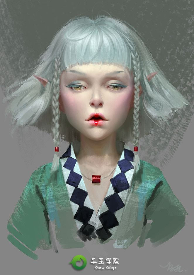 elf girl, jinlong bai on ArtStation at https://www.artstation.com/artwork/NggyP