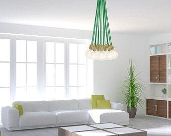 14 Pendant Custom Unique Cluster Pendant Chandelier Lighting Modern Chandelier Turquoise Blue Green Tropical Style Fixture LED Bulbs