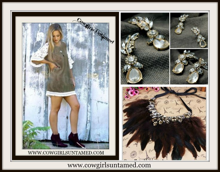 GET the LOOK at COWGIRLS UNTAMED!! Be ready to impress with the styles you'll find at www.cowgirlsuntamed.com! #lacedress #beautiful #fashion #boutique #holidayshopping #party #cowgirl #boho #cowgirljewelry #westernjewelry #bohojewelry #rhinestonejewelry