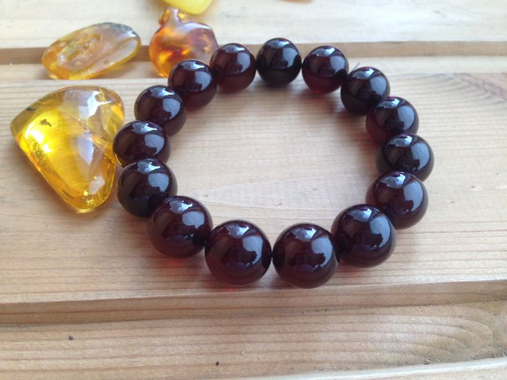 Natural Amber Beaded Bracelet Dark Red Color by AmberFromBaltic on Etsy