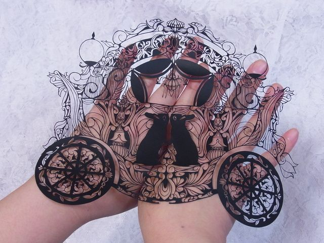 ** sent. Rabbit Carriage Papercut art