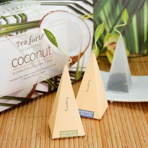 Present your guests with these delightful and delicious coconut teas from Tea Forte to enjoy at the celebration of your newborn or send them home with the teas as favors! Be sure to add an extra captivating touch with a personalized label for your guests to remember your new paradise. #timelesstreasure
