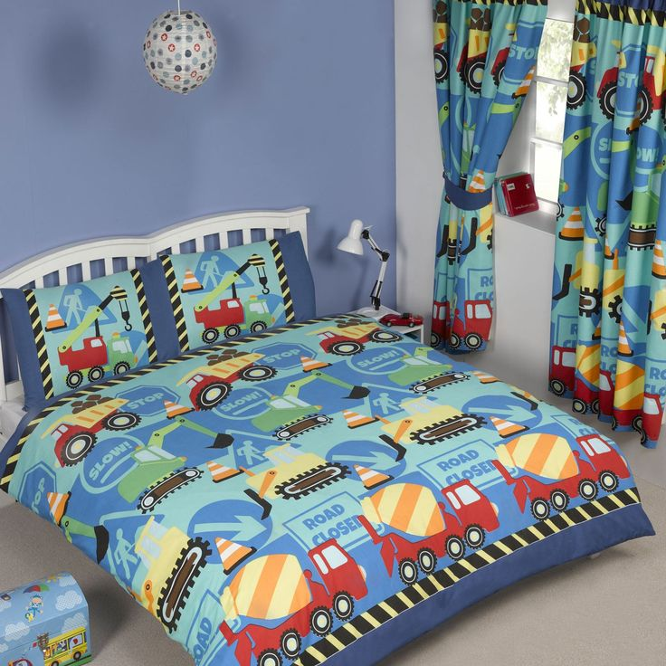 Construction Time Boys Bedding Crib/Toddler Twin Or Full Duvet Comforter  Cover Set Trucks Diggers