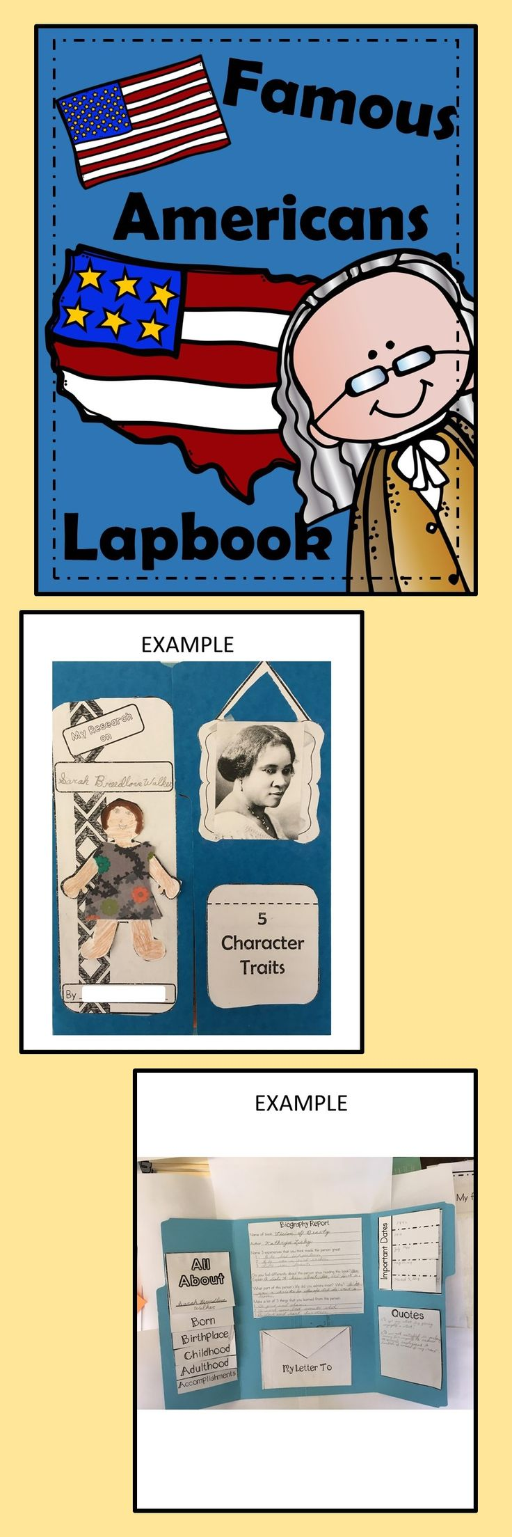 This Biography Lapbook is a fun and engaging way for your students to do research on famous Americans. Do you struggle to get your students excited about biographies? This lapbook has all the elements of a biography report but your students will be a lot more motivated. I have all of the directions on how to put it together with pictures included.