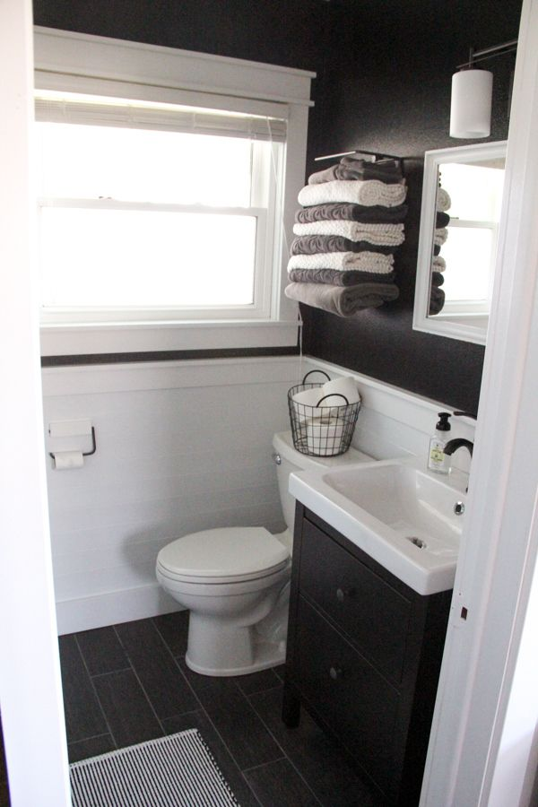 Bathroom with Black Walls, Black and White Bathroom, Modern Industrial Bathroom www.BrightGreenDoor.com