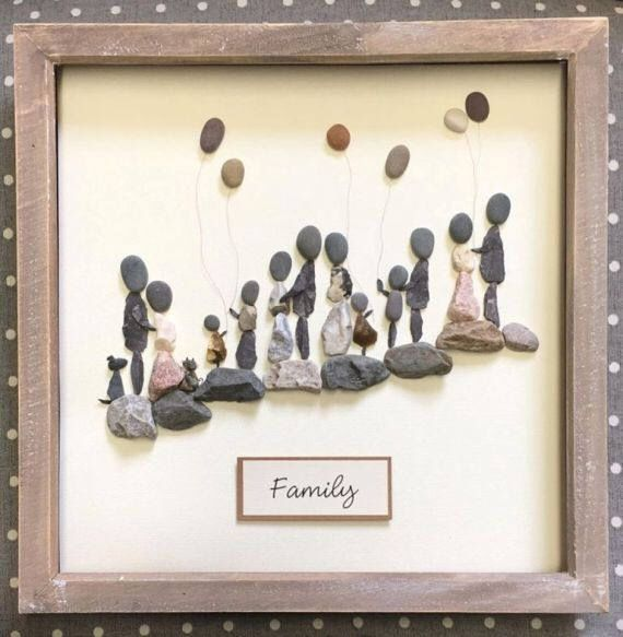A personal favourite from my Etsy shop https://www.etsy.com/uk/listing/505211855/family-picture-pebble-art-gift-for-mum