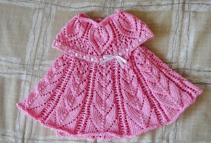 Вязаное платье для девочки 1 года спицами