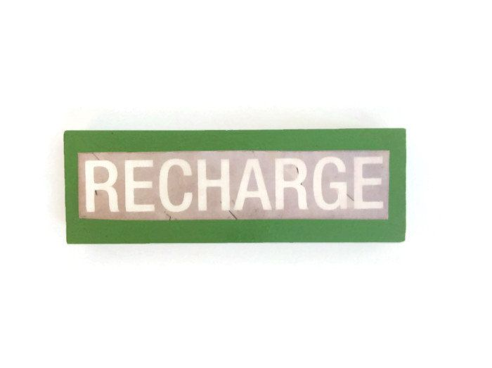 RECHARGE fridge magnet GREEN unique happy decor for Home or Office ~  Retro Stocking Filler - pinned by pin4etsy.com