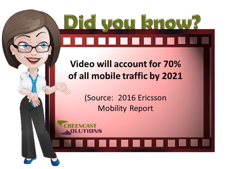Video will account for 70% of all mobile traffic by 2021  - Source:  2016 Ericsson Mobility Report
