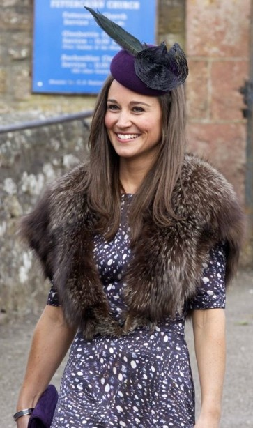 Pippa Middleton wears Beulah painted lady dress and Rosie Olivia hat for friend's wedding