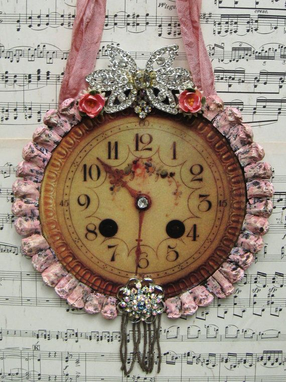 Vintage French Clock Home Decor Shabby Pink French Chic Decorative Clock Face Ornament OOAK, Repurposed Vintage Jewelry on Etsy, $50.00