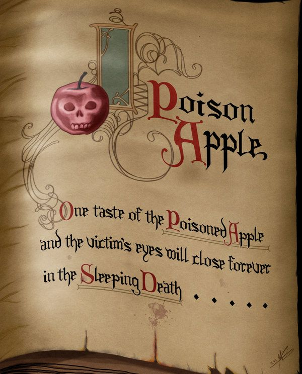 Make a spell book open to this page to display beside my poisonous apples.