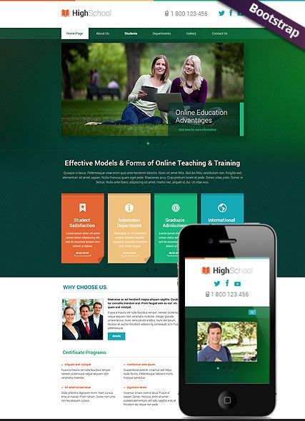 Hight School website template, bootstrap, mobile responsive  webdesign