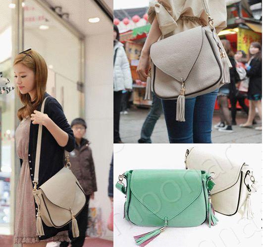 HOT Korea Style Women's Fashion  PU Leather Casual Shoulder /Messenger Bag Color Beige and Blue B426 $20.01