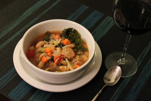 Sausage, Kale and White Bean Soup. Tasty, healthy and quick to make.