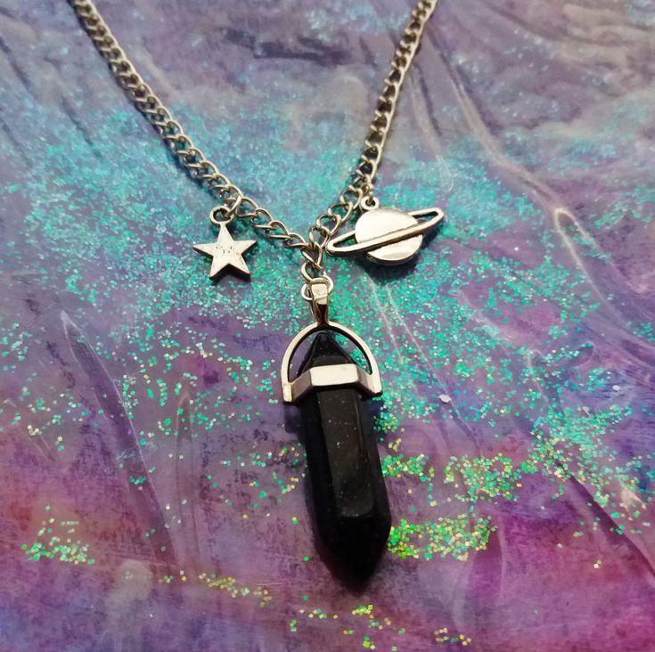 Pastel goth crystal necklace ☪ www.etsy.com/shop/OfStarsAndWine ☪  grunge kawaii nu goth