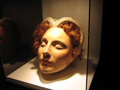 Mary, Queen of Scots' death mask. Although most death masks - taken soon after the person was executed - are white, this one has been hand-painted.