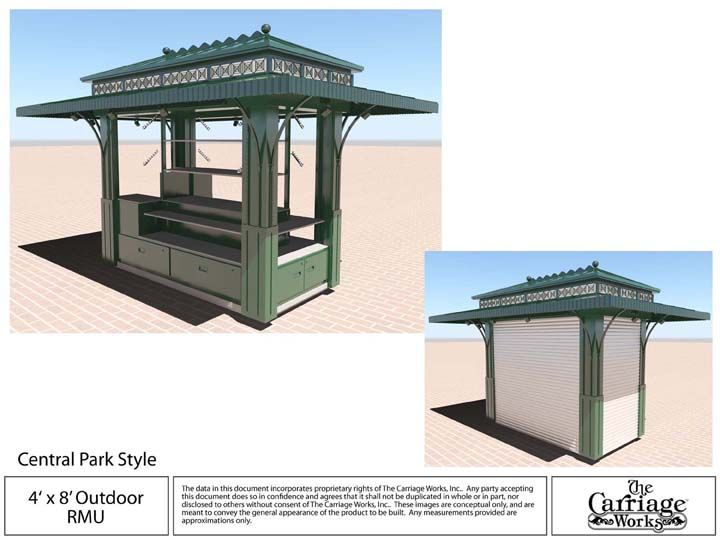 Casino carts our beach kiosks carriage works manufacture for Exterior kiosk design