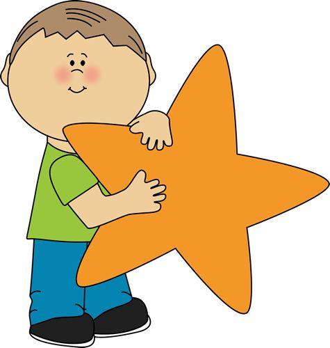 Star Clip Art | an Orange Star Clip Art Image - little boy holding a blank orange star ...