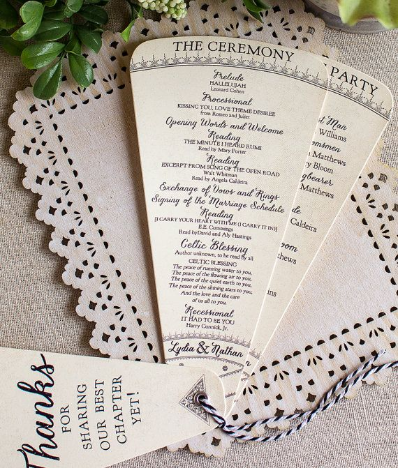 Wedding Program Petal Fan Vintage Story Book by SunshineandRavioli