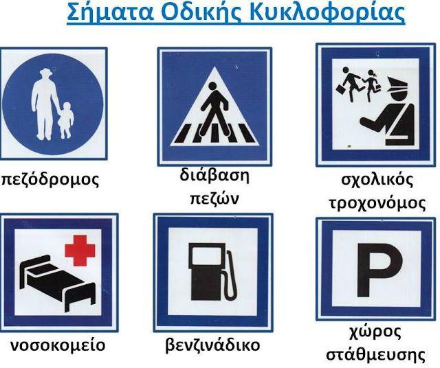 Δραστηριότητες, παιδαγωγικό και εποπτικό υλικό για το Νηπιαγωγείο: Πίνακας Αναφοράς για τα Σήματα Οδικής Κυκλοφορίας