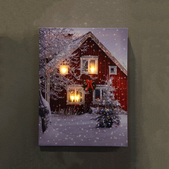 Hang Our Led Lighted Canvas Wall Art On Any Wall In Your Home To Put Everyone In A Seasonal Mood Perfect Christmas Canvas Art Christmas Canvas Lighted Canvas