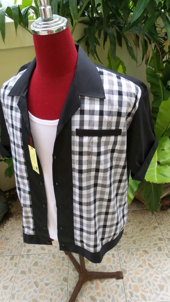 Hand Made 1950 s Style Mens Rockabilly Bowling Shirt Black & Black, white  Check