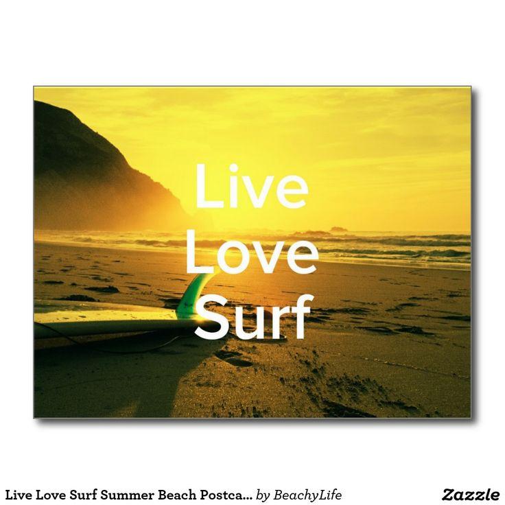 Live Love Surf Summer Beach Postcard