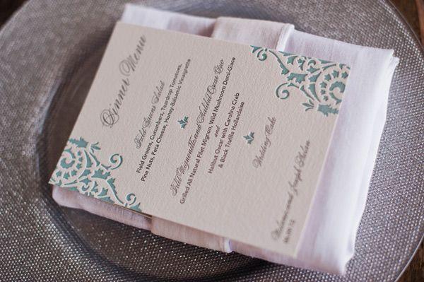aqua and silver letterpress menu | Brooke Mayo