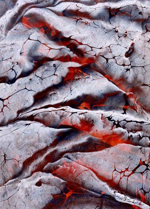 Ebru arbling, boiling lava, by Turkish artist Songül Sönmez