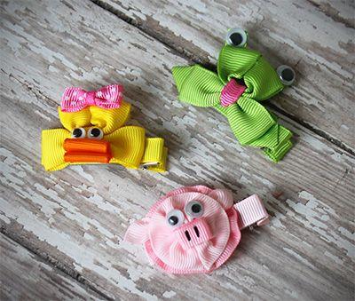 Hair Bows – Animal Hair Clip - Ribbon Sculpture - Frog, Pig or Duck. $1.99 each!