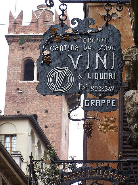 Wonderfully crafted sign for a wine shop in Verona, Italy