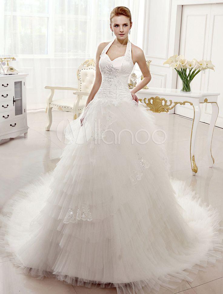 Vestido de casamento nupcial marfim de trem capela do Applique bola vestido frente única com pescoço Halter
