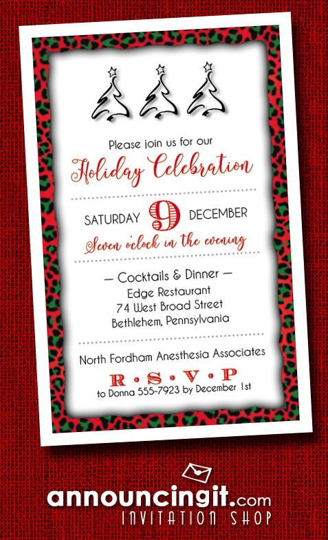 Holiday Leopard Print Party Invitations in 2018 Invitations