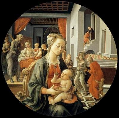 Madonna with the Child and Scenes from the Life of St. Anne - Fra Filippo Lippi.  1452.  Oil on panel.  Diameter:  135 cm.  Galleria Palatina, Palazzo Pitti, Florence, Italy.