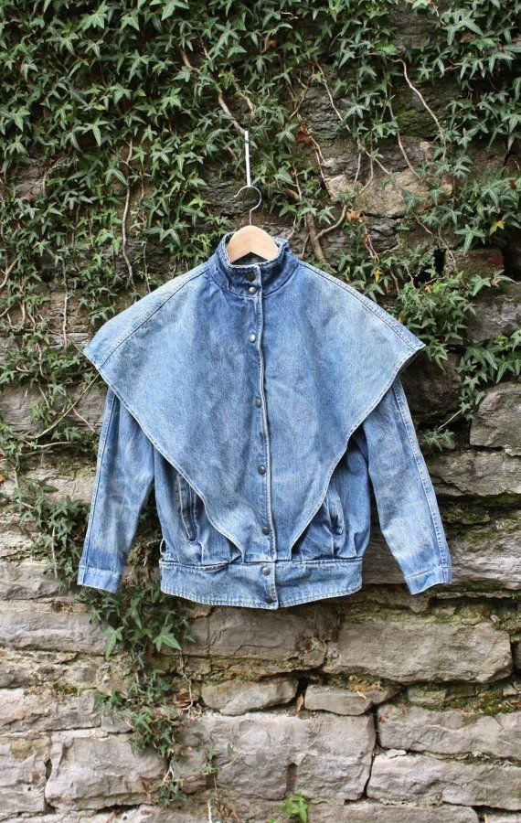 80s Oversized Caped Jean Jacket Womens by flickaochpojke on Etsy, $48.00