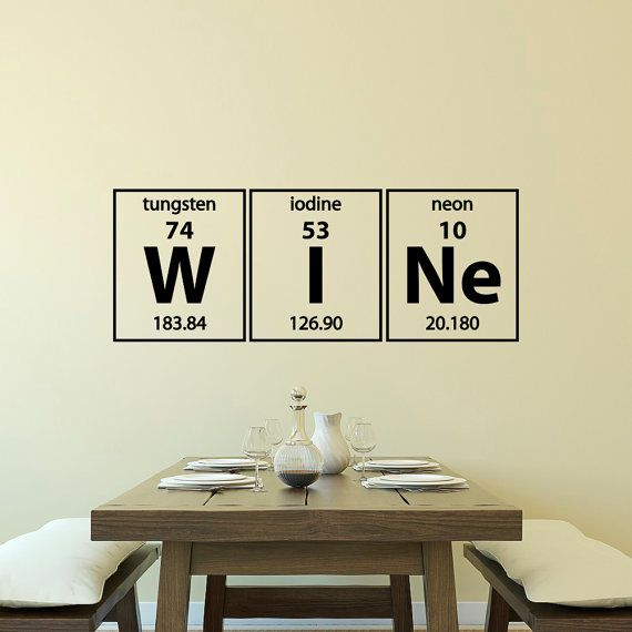 Periodic Table Wine Elements Wall Decal Vinyl Lettering Periodic Table Of  Elements Decals Dining Room Kitchen Wall Art Home Decor