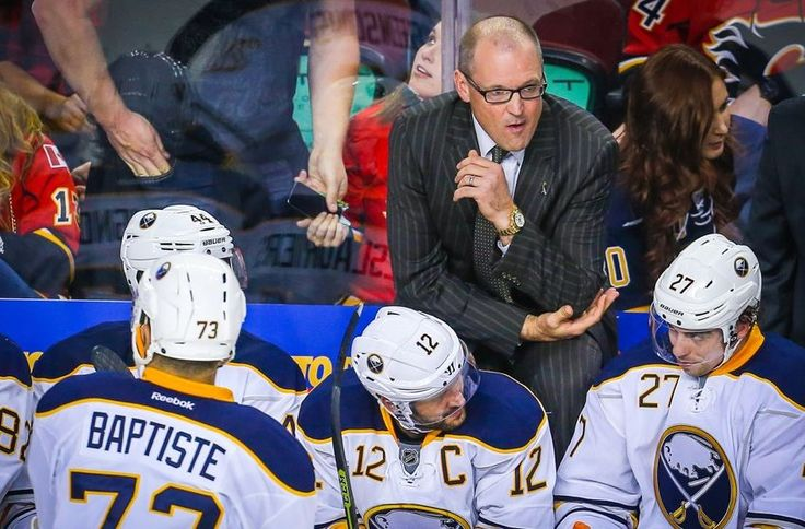 Oct 18, 2016; Calgary, Alberta, CAN; Buffalo Sabres head coach Dan Bylsma on his bench against Calgary Flames during the third period at Scotiabank Saddledome. Calgary Flames won 4-3. Mandatory Credit: Sergei Belski-USA TODAY Sports