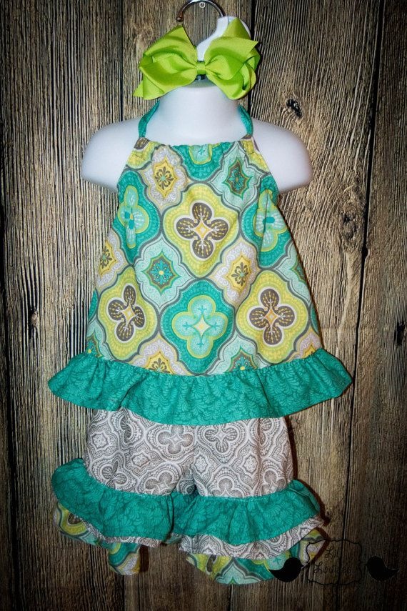 Girls Summer Capri Outfit W/ Bow Boutique Mint Lime by LilLouises
