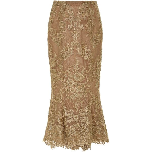 Corded Lace Pencil Skirt   Moda Operandi (5 385 SEK) ❤ liked on Polyvore featuring skirts, lace pencil skirt, high-waisted skirt, brown midi skirt, embroidered skirt and lace midi skirt