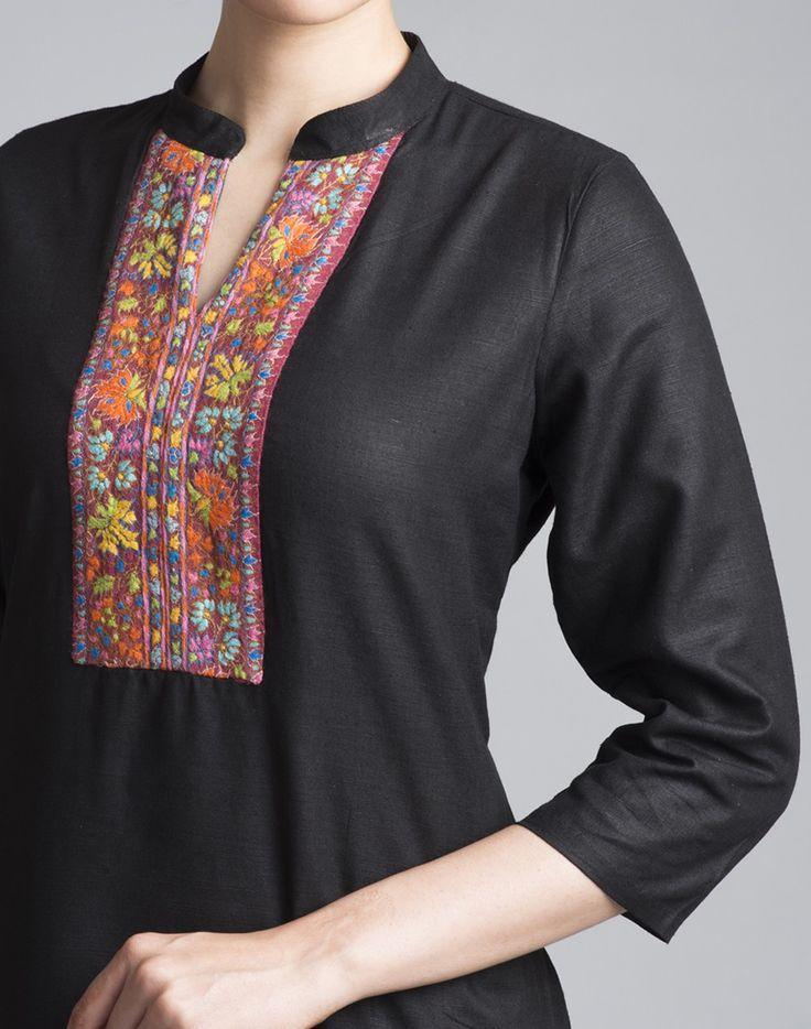 Featuring beautiful Kashmiri embroidery, this silk matka kurta with a…